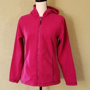 Land's End fuschia fleece full zip jacket EUC